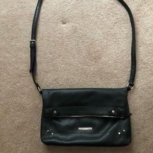 Black cross body flip over purse